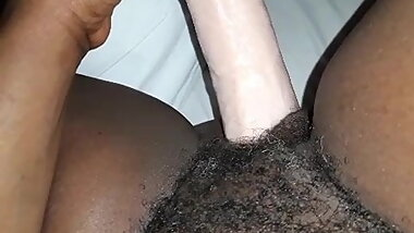 hairy ebony dildo play