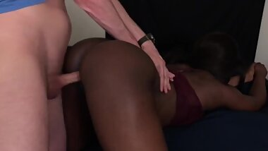 Black Teen Caught Sucking White Cock And Taking Huge Cumload On Ass
