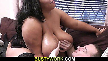 Guy fucks mega-boobs ebony plumper from behind
